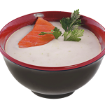 Суп-пюре с луком и свежим лососем