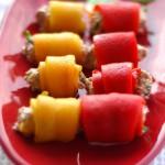 Овощные рулетики в пароварке под клюквенным соусом