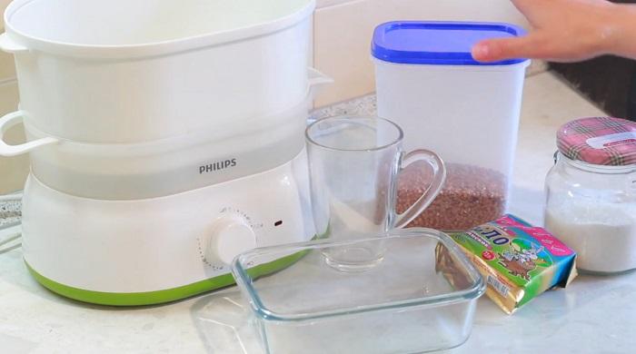 ингредиенты для гречки в пароварке
